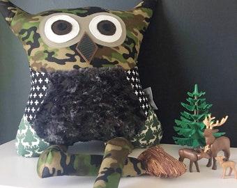 Stuffed owl pillow military camo toy decorative cushion boy bedroom