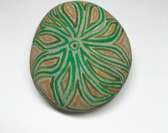 Original Green Lines Design Hand Painted Acrylic Stone Painting Rock Art