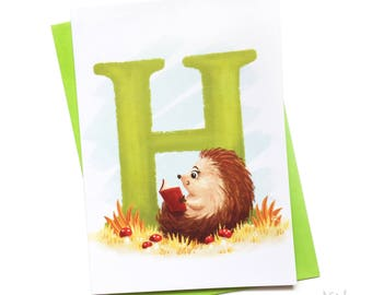 Illustrated - Alphabet Greeting Card - H is for Hedgehog