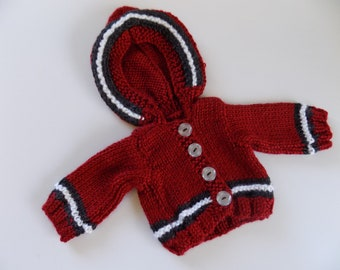 Red Doll Sweater, 18 Inch Doll Clothes, Knit Doll Sweater, Red Knit Sweater, Red and Black Cardigan, Doll Sweatshirt