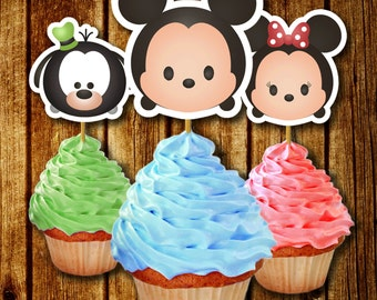 PRINTABLE Tsum Tsum Cupcake Toppers / Instant Download / Printable Party Favors / Disney Tsum Tsum Charaters