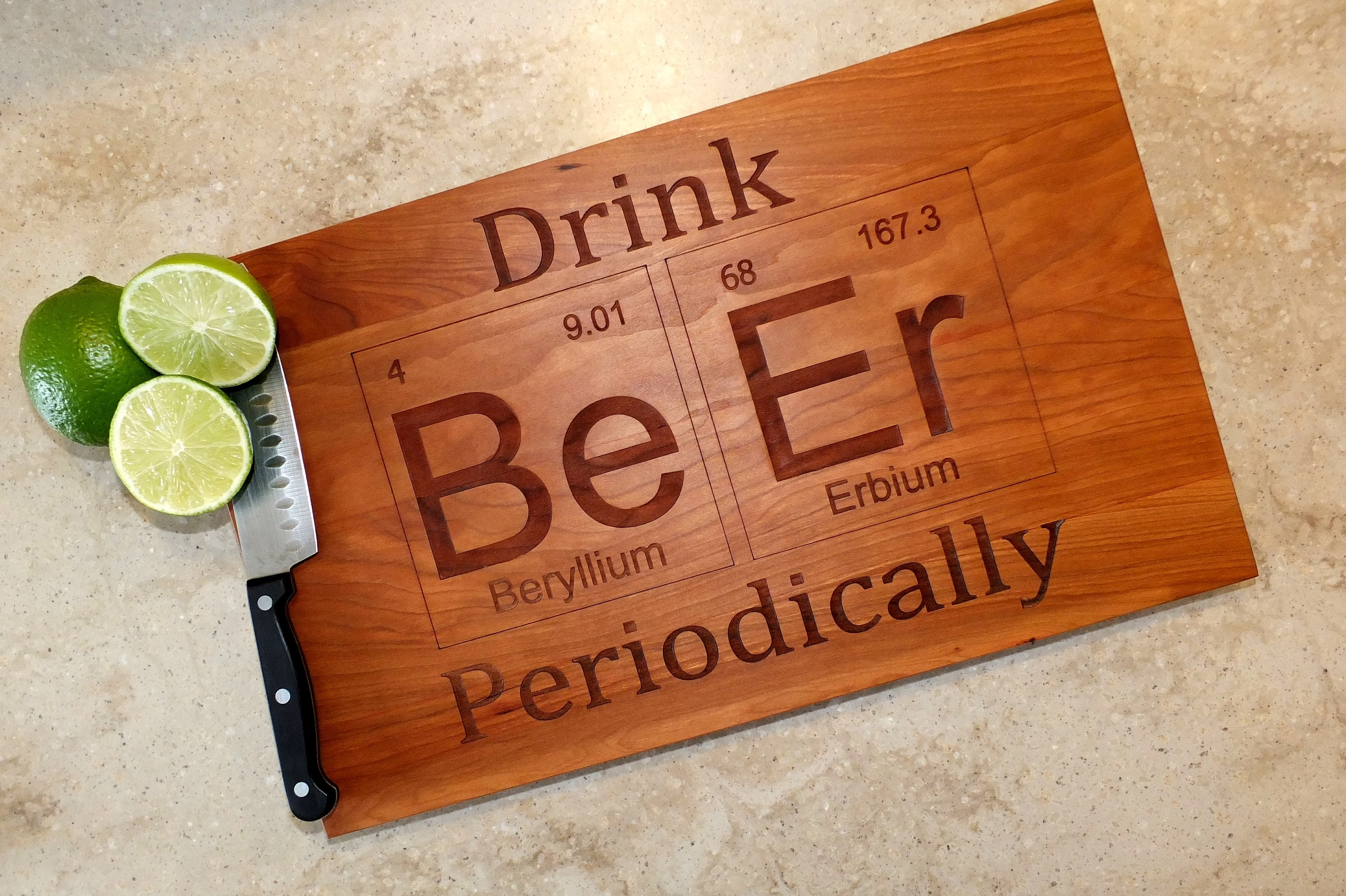 drink beer periodic table inspired cutting board engraved on maple walnut cherry or white oak wood bar kitchen housewarming gift - Periodic Table Name Plate