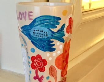 Hand painted ceramic container, utensil holder blue bird, flowers, mexican style, folk