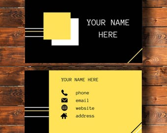 Printable business card, simple design, black and yellow