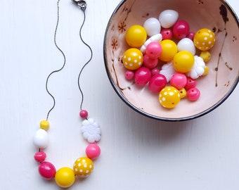 princess bubblegum necklace - vintage remixed beads - polka dot, pink, yellow, white