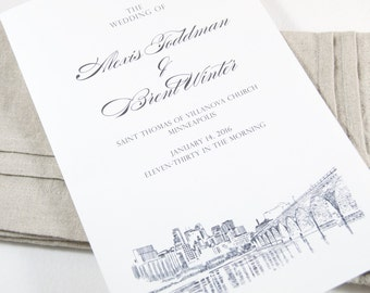 Minneapolis Skyline Wedding Programs (set of 25 cards)