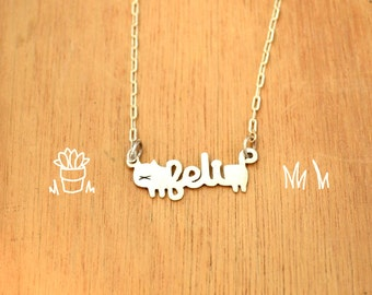 Cat with name-Necklace Chain-Personalized Pet -Sterling Silver-Animal Cat Pendant