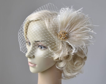Bridal Veil and gold champagne fascinator Downton Abbey 1920's flapper headpiece ivory, Great Gatsby, birdcage veil set, Feather fasciantor
