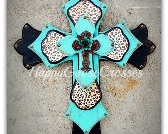 Wall CROSS  - Wood Cross - Large - Antiqued black and turquoise, with leopard/cheetah print, iron cross, and turquoise iron rose