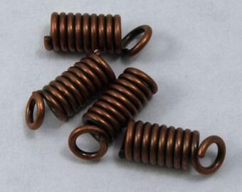 8mm Antique Copper Coil Spring Cord End #MBG216
