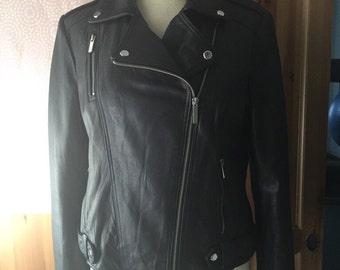 Women Black Motorcycle Leather Jacket