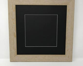 """12x12 Square 1.75"""" Rustic Beige Solid Wood Picture Frame with Black Mat Cut for 8x8 Picture"""