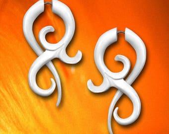 Fake Gauge Earrings, BONE Allure Twists, Fake Gauge, Tribal Earrings, Handmade, Organic, Tribal Jewelry, Cheaters, Faux Gauges - B23