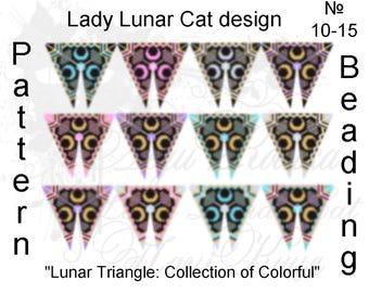 Peyote triangle pattern, Moon peyote, Crescent peyote, Summer peyote, Witchy peyote, Halloween peyote, Lunar peyote, Jewelry patterns