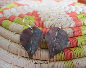 Copper and Silver Earrings- Fall Leaves