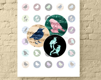 Songbirds * 1 Inch Circle Digital Downloads * 1 Inch Printable Birds with Music Notes * Digital Collage Sheet for Crafts *  Instant Download
