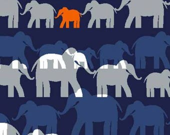 Herd Elephants Navy For The Trekking Collection By Michael Miller Fabrics