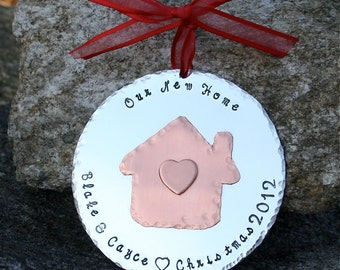 Our New Home - Personalized - Hand Forged Copper and Aluminum Christmas Ornament  - LARGE 3 inch Ornament