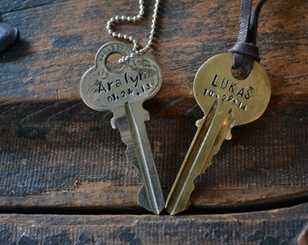 Key Necklace - The Birthday Key - Custom Name & Date Key - Key To Moms Heart - Key To Dads Heart - Hand Stamped Key Necklace