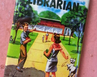 LIBRARY & LIBRARIAN themed vintage book cover MAGNET set