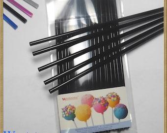"50pcs 6"" (15cm) Black Lollipop Sticks For Cake Pops or Lollipop Candy - Solid Acrylic"