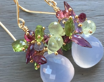 Multi Gemstone Cluster Earrings Chalcedony Cluster Earrings