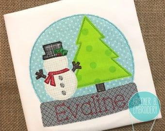 Snow Globe Applique / Christmas Applique Shirt / Girl Christmas / Toddler Christmas / Snowman / Personalized Christmas / Vintage Christmas