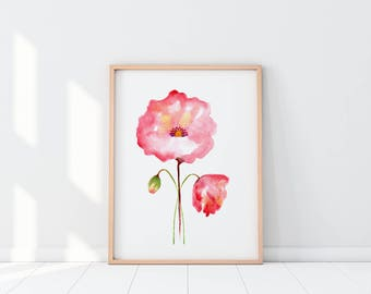 Poppy Watercolor Print, Flower Watercolor Print, Watercolor Painting, Instant Download, Wall Art, Art Print, Poppies Flower Painting Print