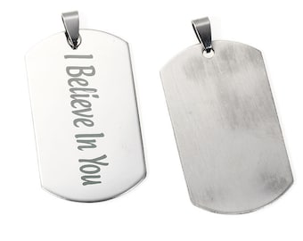 "1 Stainless Steel Rectangle ST Message "" I Believe In You "" Pendants Carved 56mm (B1e)"