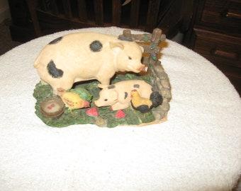 Ceramic Pigs In Barn Yard