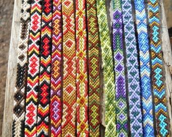 Friendship bracelet set. best friend. woven. diamonds. string. macrame. chevron.