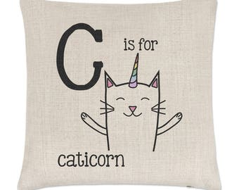 Letter C Is For Caticorn Linen Cushion Cover