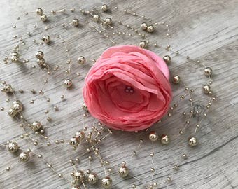 Pink Pigtail Chiffon flower on elastic holder, Ponytail holder, hair tie set, elastic hair ties, hair jewelry, flower hair accessory