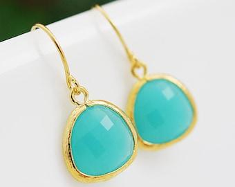 Mint Opal Glass dangle Earrings drop Earrings - Bridesmaid gift, Bridesmaid Earrings, Bridesmaid Jewelry, Wedding, Christmas gift for her