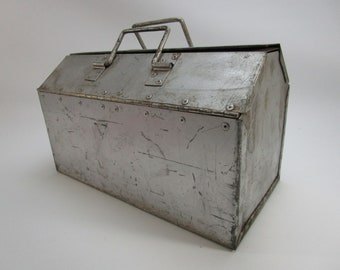 Vintage riveted industrial metal tool box