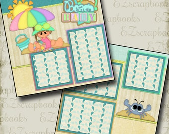 BEACH BABY Girl - 2 Premade Scrapbook Pages - EZ Layout 26