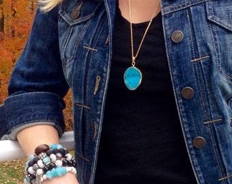 Aqua Agate Druzy Gold Pendant Necklace/Blue Druzy/Blue and Gold/Druzy Pendant/Aqua/Turquoise/