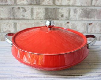 Bright cherry red metal sauté pan with lid serving dish gift for chef cook