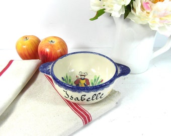1 ceramic bowl, hand painted bowl, cafe au lait bowl, personalised bowl Isabelle, blue pottery bowl, French vintage, French country decor.