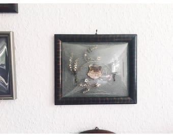 Antique Silver Myrtle Tiara and Brooch in original frame, domed frame, wedding heirloom, Antique Wedding Headpiece, Boutonniere Corsage