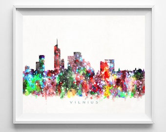 Vilnius Skyline Print, Lithuania Print, Vilnius Poster, Cityscape, Room Decor, Watercolor Painting, Giclee Art, Fathers Day Gift