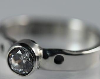 Sterling Silver Bezel Set CZ Ring