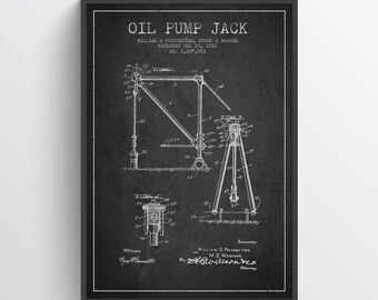 1916 Oil Pump Jack Patent Wall Art Poster, Pump Jack  Poster, Oil Drilling Poster, Home Decor, Gift Idea, PFEN10P