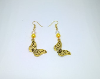 Gold butterfly earrings and beads