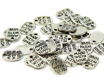 100 pcs Silver Made with Love Charms - Oval Tag Shape