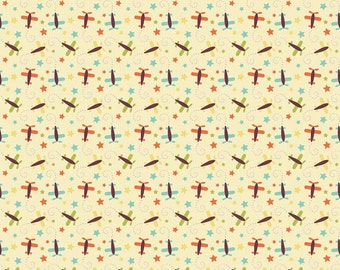 04439 - Riley Blake Oh Boy collection - Airplanes in yellow C3303  - 1/2 yard