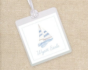 Watercolor Sailboat Luggage Tag