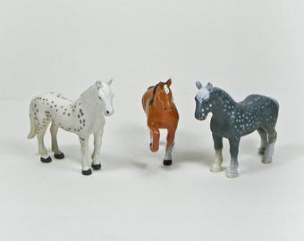 Three Vintage TLC Plastic Horses - 1988 Funrise - Irish Horse Speckled - Bay Brown - Percheron - 1980s Toys - For Custom