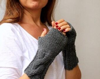 Handknit Fingerless Gloves Hand Knitted Mittens Slate Gray Grey Warm Cable Knitted Fingerless Gloves