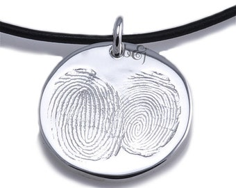 Sterling Silver Custom Two Become One Fingerprint Pendant